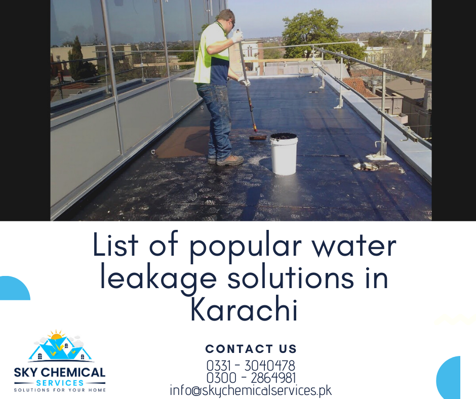 water leakage solutions in Karachi | bathroom leakage repair karachi | roof leakage repair in karachi | roof leakage solution in karachi | bathroom seepage solution | sky chemical services